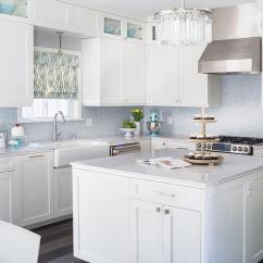White Kitchen Backsplash Tuscan Style With Blue Mosaic Tile Contemporary