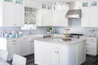 White Kitchen with Blue Mosaic Tile Backsplash ...