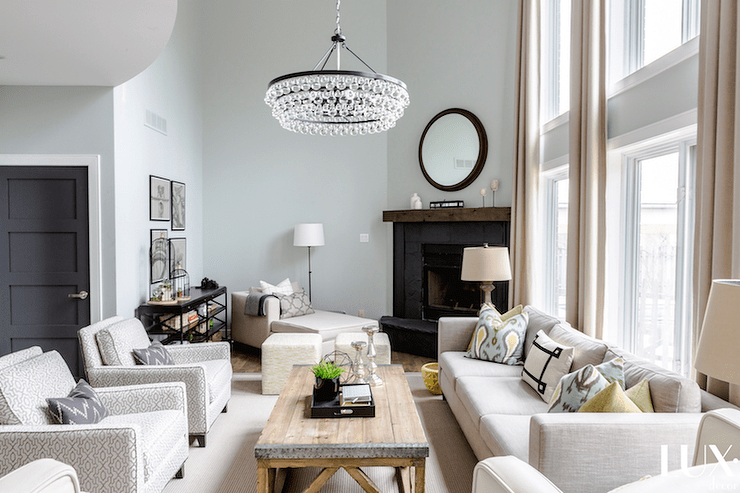 grey club chair wicker chairs new zealand two story living room design ideas