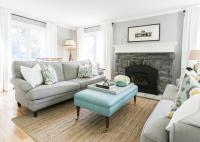 Blue and Gray Living Room with Bench as Coffee Table ...