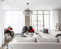 Living Room with Ducati Motorcycle - Contemporary - Living ...