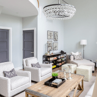 2 Story Living Room with Robert Abbet Bling Chandeliey