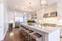 Extra Long Kitchen Island with Gray Barstools ...