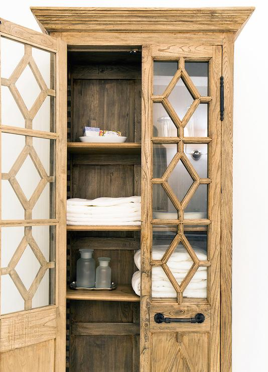 Georgian Fretwork Glass Double Door Cabinet  Transitional  Bathroom