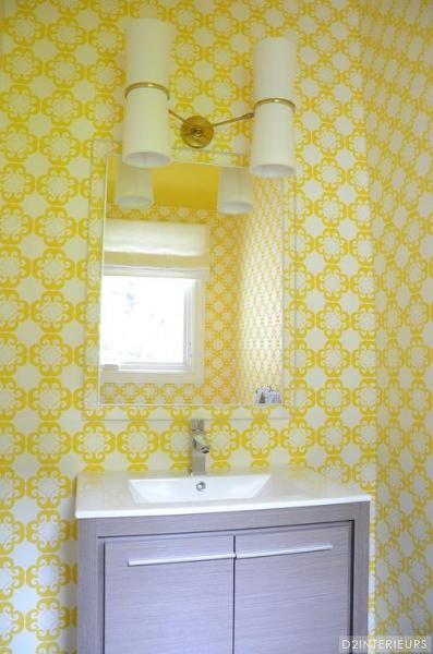 yellow and grey bathroom mirror Bathroom