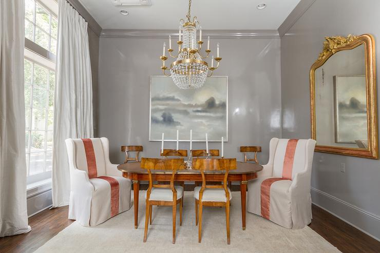 Gray Dining Room with Gray Crown Moldings  French
