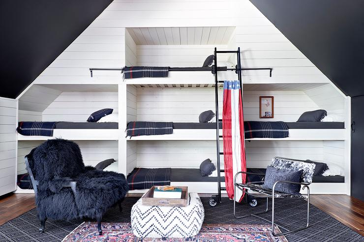 cowhide print accent chair where to buy covers in the philippines wall of built bunk beds - cottage boy's room