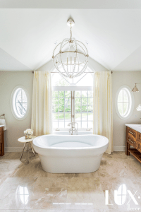 Bathroom Vaulted Ceiling with Beaded Clear Chandelier ...
