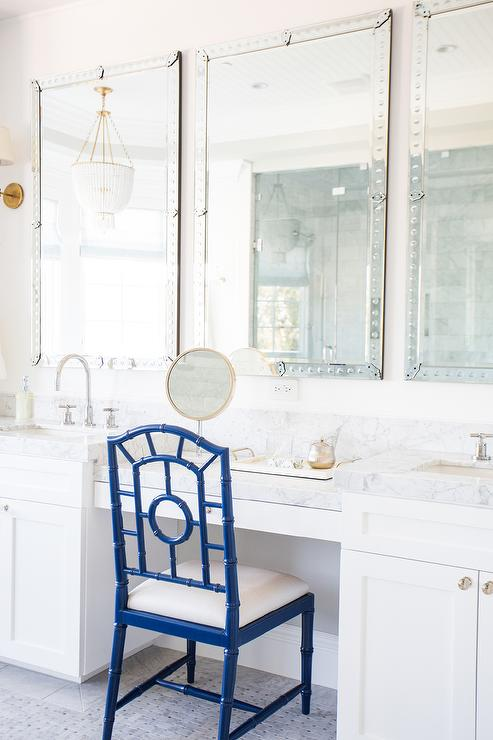 Make Up Vanity with Blue Chair Transitional Bathroom