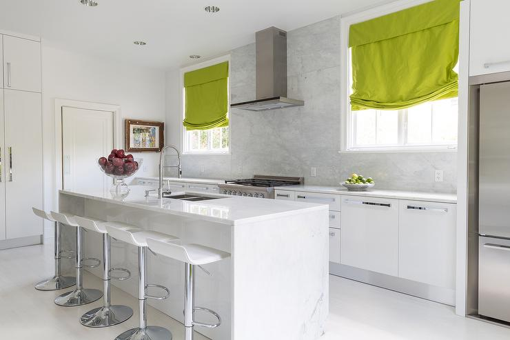 White and Grey Kitchen with Green Roman Shades