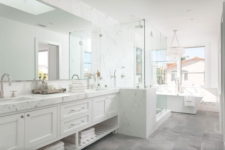 White Master Bathroom with Gray Tiled Floors