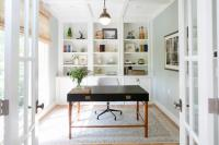 Home Office with Wall of Built In Bookcase - Transitional ...