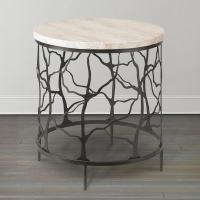 Travertine Oval Twig End Table in Cast Iron