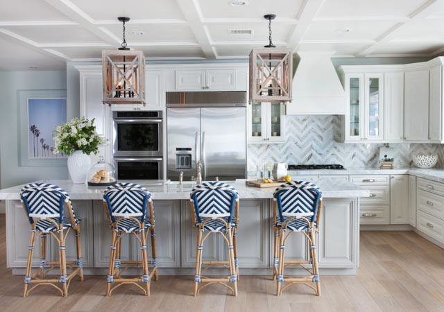 Gray Island with Navy French Bistro Barstools  Cottage