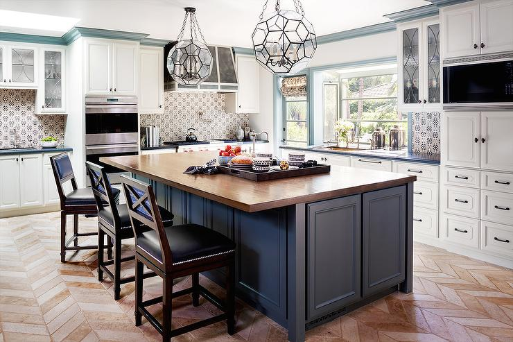 blue kitchen island chandelier for with wood countertop transitional