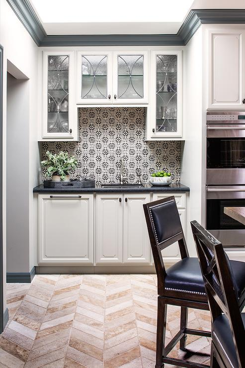 black and white tile kitchen moen renzo faucet mosaic backsplash tiles transitional