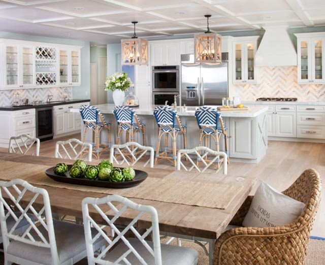 Reclaimed Wood Dining Table with White Bamboo Dining
