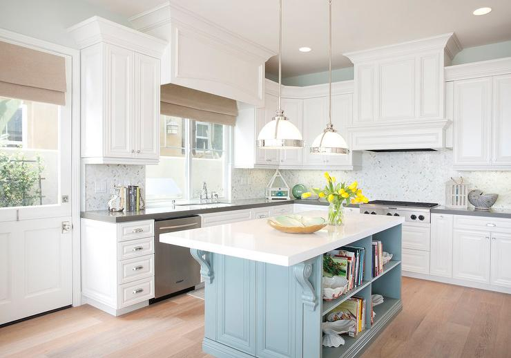 white kitchen islands cabinet lights turquoise island design ideas and blue features a pair of restoration hardware classic clemson pendants hanging over with corbels