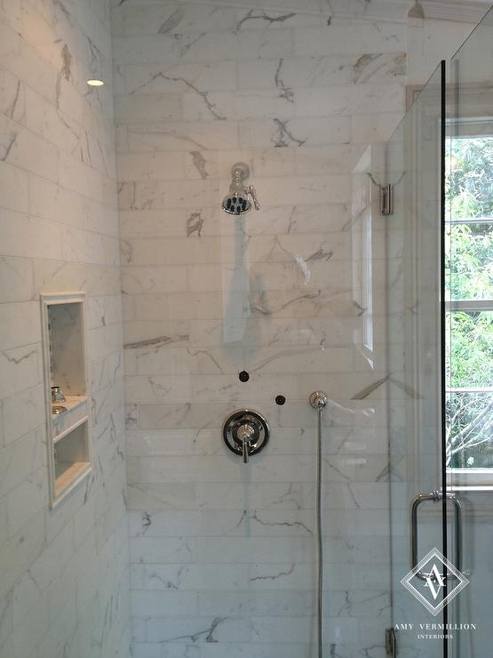 Long Marble Shower Tiles with Niche  Transitional  Bathroom