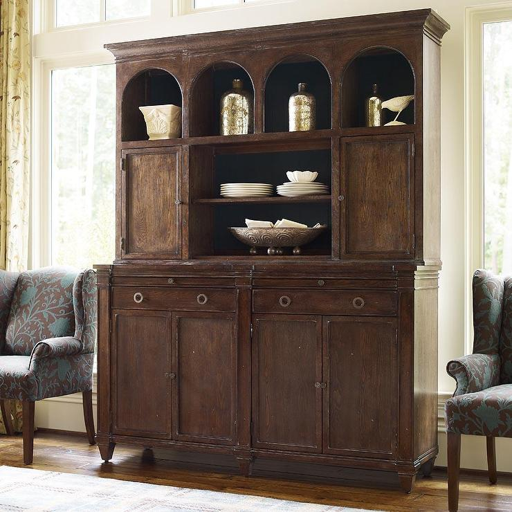 Winfrey Hutch Distressed Black Cabinet