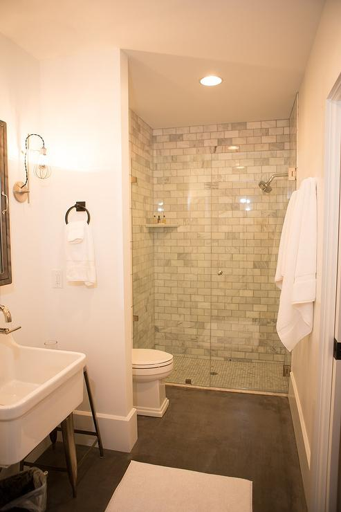 Shower with Marble Subway Tiles and Corner Ledge Shelf  Transitional  Bathroom