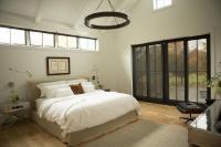 Bed Under Clerestory Windows - Transitional - Bedroom