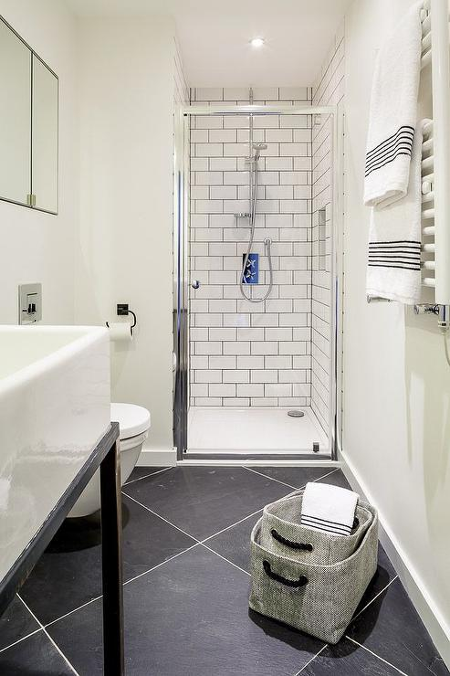 Black Diamond Pattern Bathroom Floors  Contemporary