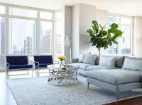 Gray Sofa with Chaise Lounge and Blue Velvet Accent Chairs ...