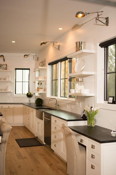 kitchen desk industrial hoods stainless steel soapstone top with swing arm sconce transitional