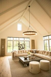 Beige Tufted Slipcovered Sectional with Metal Industrial ...