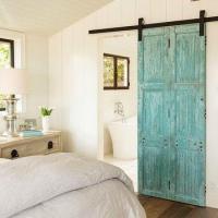 En Suite Bathroom with Distressed Barn Doors on Rails ...