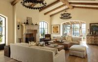Mediterranean Living Room Cathedral Ceiling Design Ideas