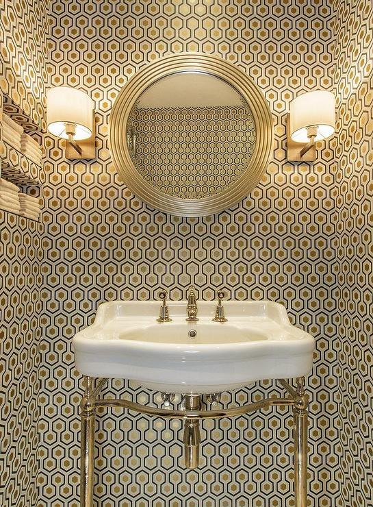 Contemporary Powder Room with Hicks Hexagon Wallpaper