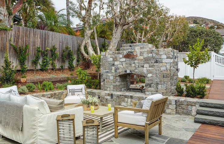 Sunken Patio With Stone Fireplace Cottage Deck Patio