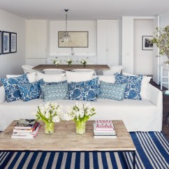 White Slipcovered Sofa Living Room Set Up With Sectional Blue Pillows Cottage
