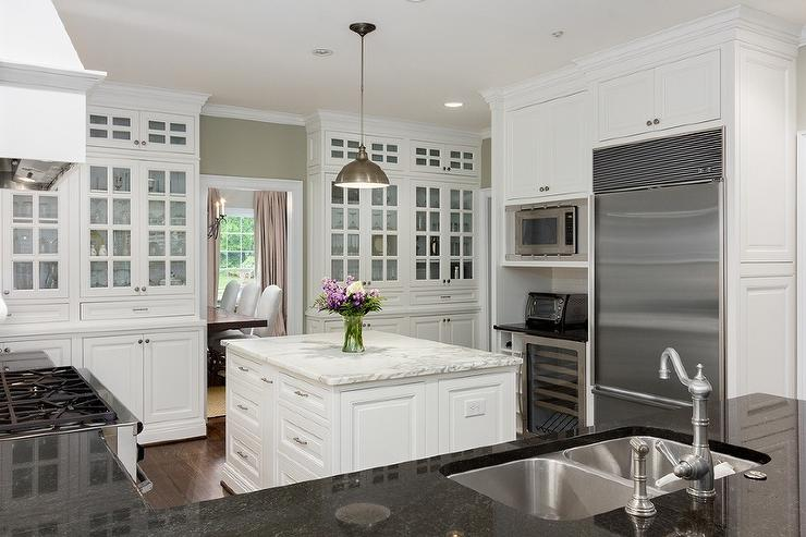 Built In Glass Front Kitchen China Cabinets  Transitional
