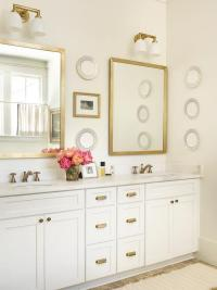 White and Gold Bathroom with Brass Rivet Medicine Cabinets ...