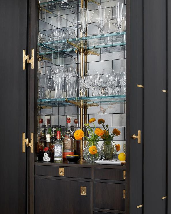 Dark Stained Bar Cabinet with Mirrored Subway Tile Backsplash  Contemporary  Kitchen