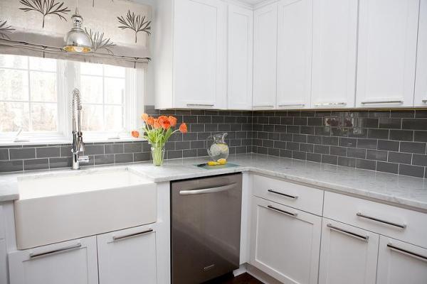 white kitchen cabinets with subway tile backsplash White Kitchen Cabinets with Gray Subway Tile Backsplash