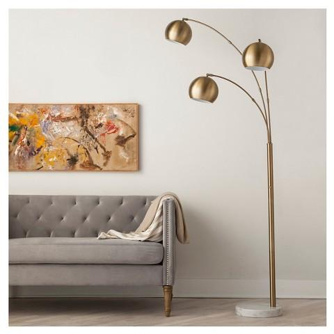 3 Globe Arc Floor Lamp in Brass