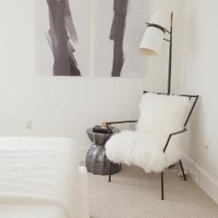 Bedroom Chair With Skirt Samsonite Folding Parts Antique Brass Floor Lamp Design Ideas Black And White Reading Corner Is Filled A Lined Sheepskin Next To Twisty Stool Made Gods Bea Placed Under