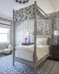 Twin Gray French Canopy Bed Design Ideas