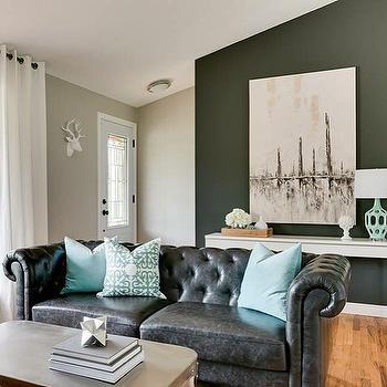 black leather living room white and rooms sofa design ideas chesterfield with turquoise pillows