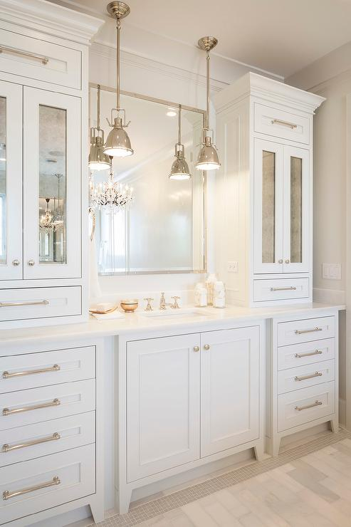 bathroom vanity cabinets with antiqued mirrored doors - transitional