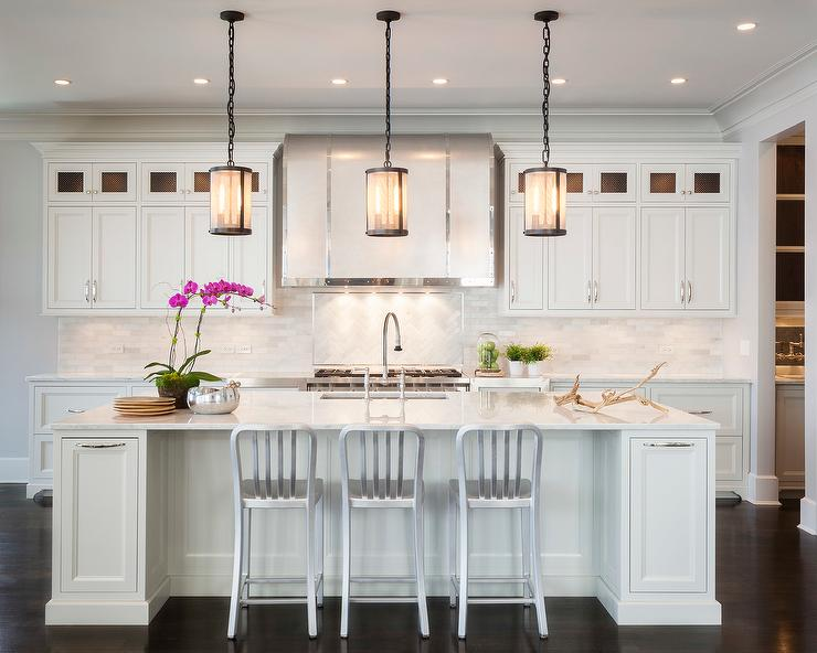 Kitchen Island With Riveted Mesh Pendant Transitional Kitchen