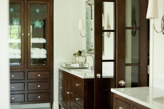 Huge Master Bathroom With Arched French Doors Twin Single Curved Cabinets Marble Countertops White Built In Vanity Top