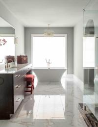 Gray and Brown Bathroom with Red Accents