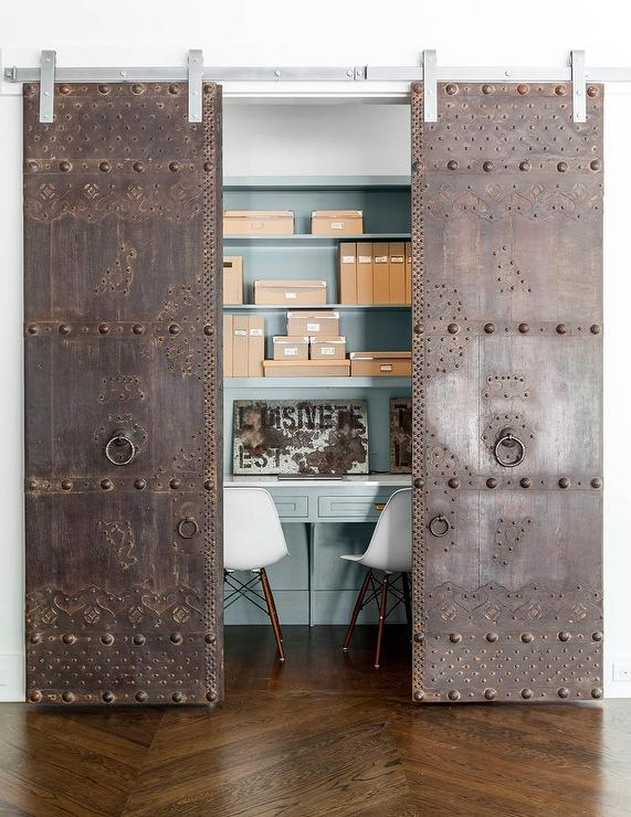 Closet Office with Metal Doors on Rails  Contemporary
