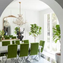 Green Dining Room Chairs Rosewood Singapore Velvet With Marble Table Contemporary