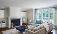 Grey and Blue Living Room with Nailhead Sectional ...